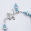 Arizona Focal beads with clasp in turquoise art glass and sterling silver accents
