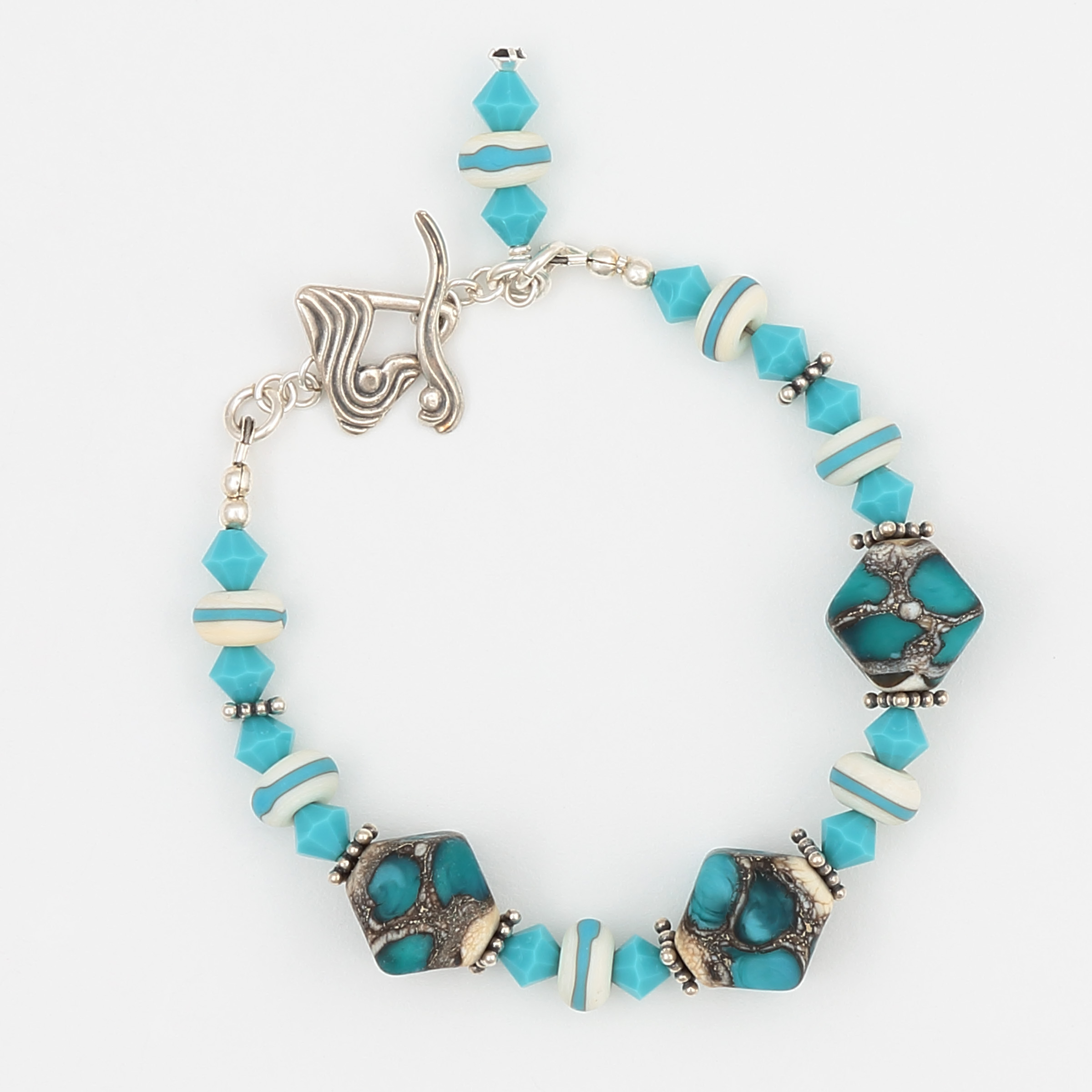 ARIZONA BRACELET- white and turquoise art glass with Swarovski crystal and an unusual sterling silver clasp
