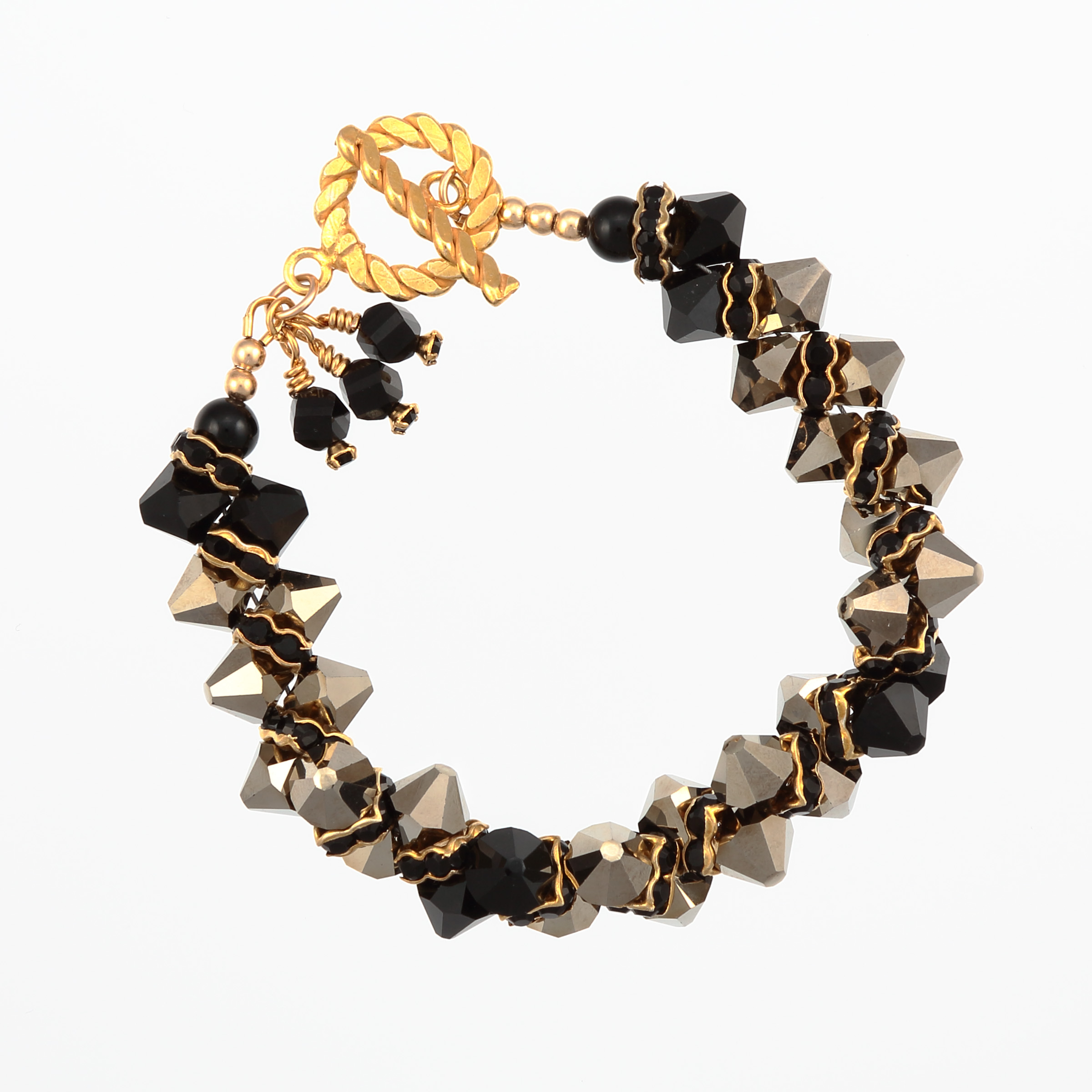 BLACK GOLD BRACELET- metallic gold and black Swarovski crystals with gold vermeil toggle clasp