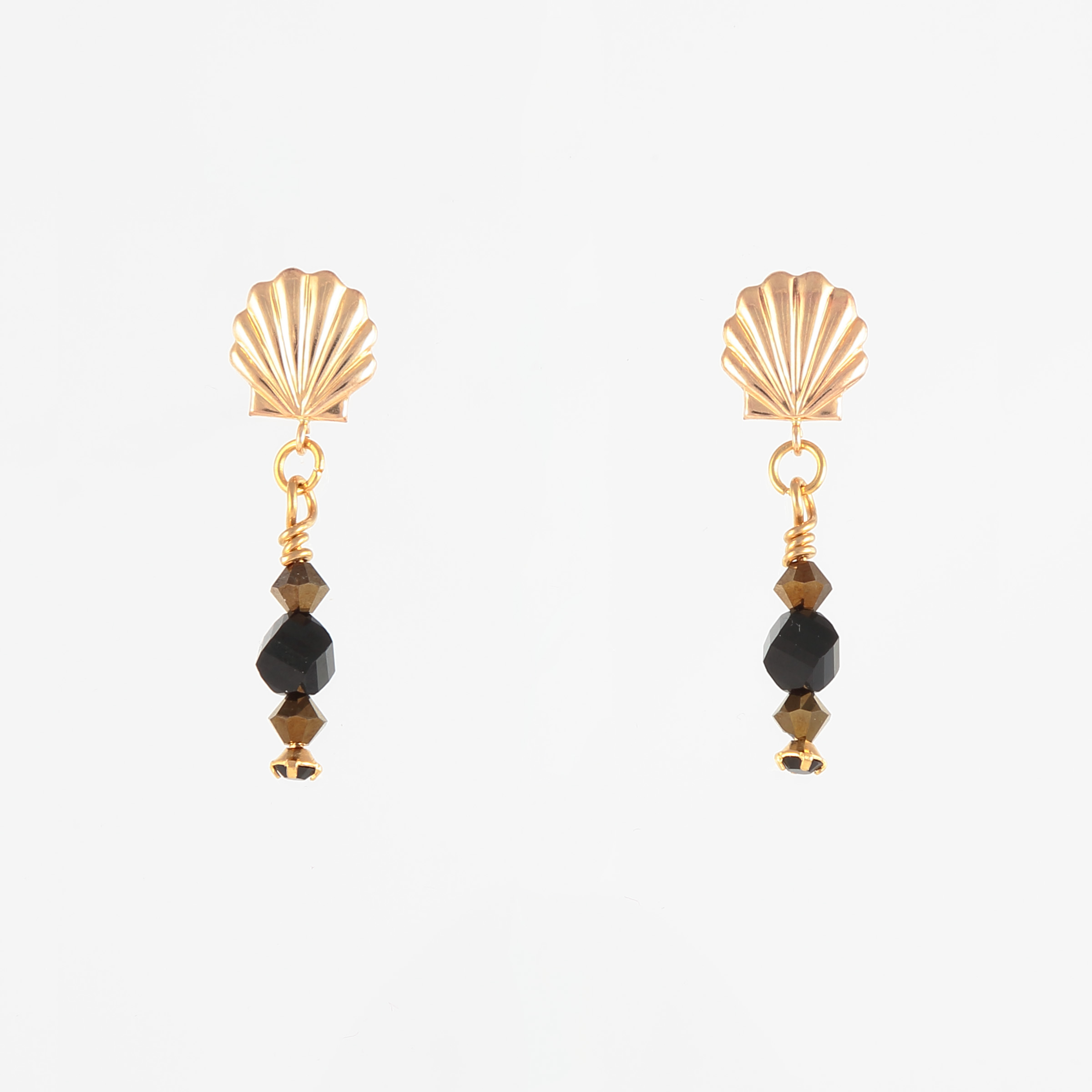 BLACK GOLD EARRINGS – black and bronze Swarovski crystals with vermeil posts