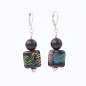 Midnight Comet Earrings by Vibrant and Sage with Midnight Art Glass & Sterling Silver