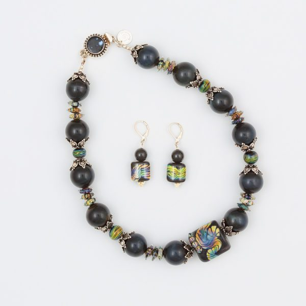 Midnight Comet Necklace by Vibrant and Sage with Art Glass, Stone, and Sterling Silver