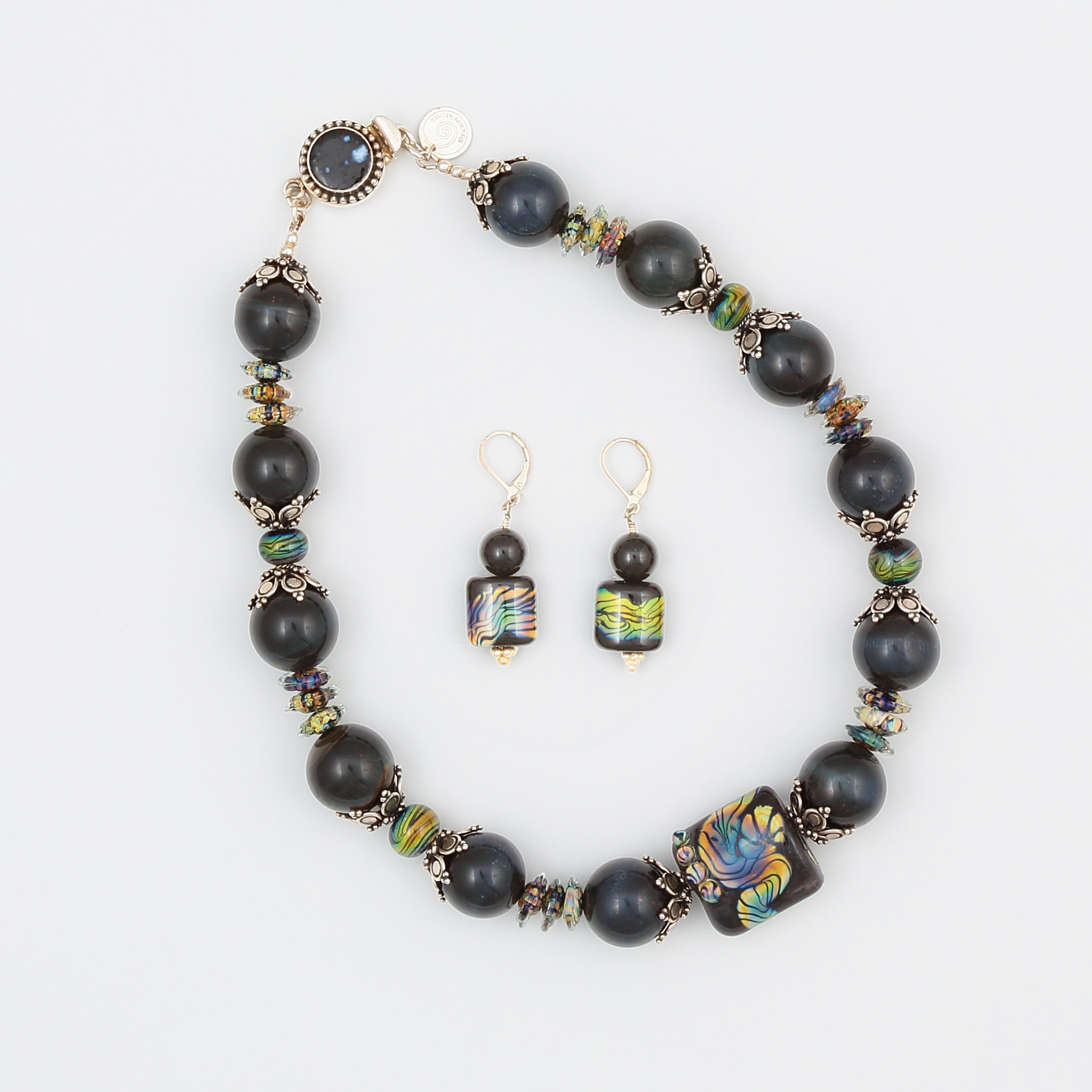 Statement necklace – earrings in blue tiger's eye gemstone and art glass