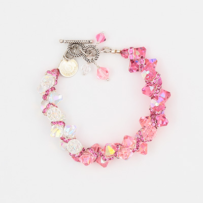 Blush Rock Candy Bracelet by Vibrant and Sage with pink Swarovski Crystals and a silver toggle clasp