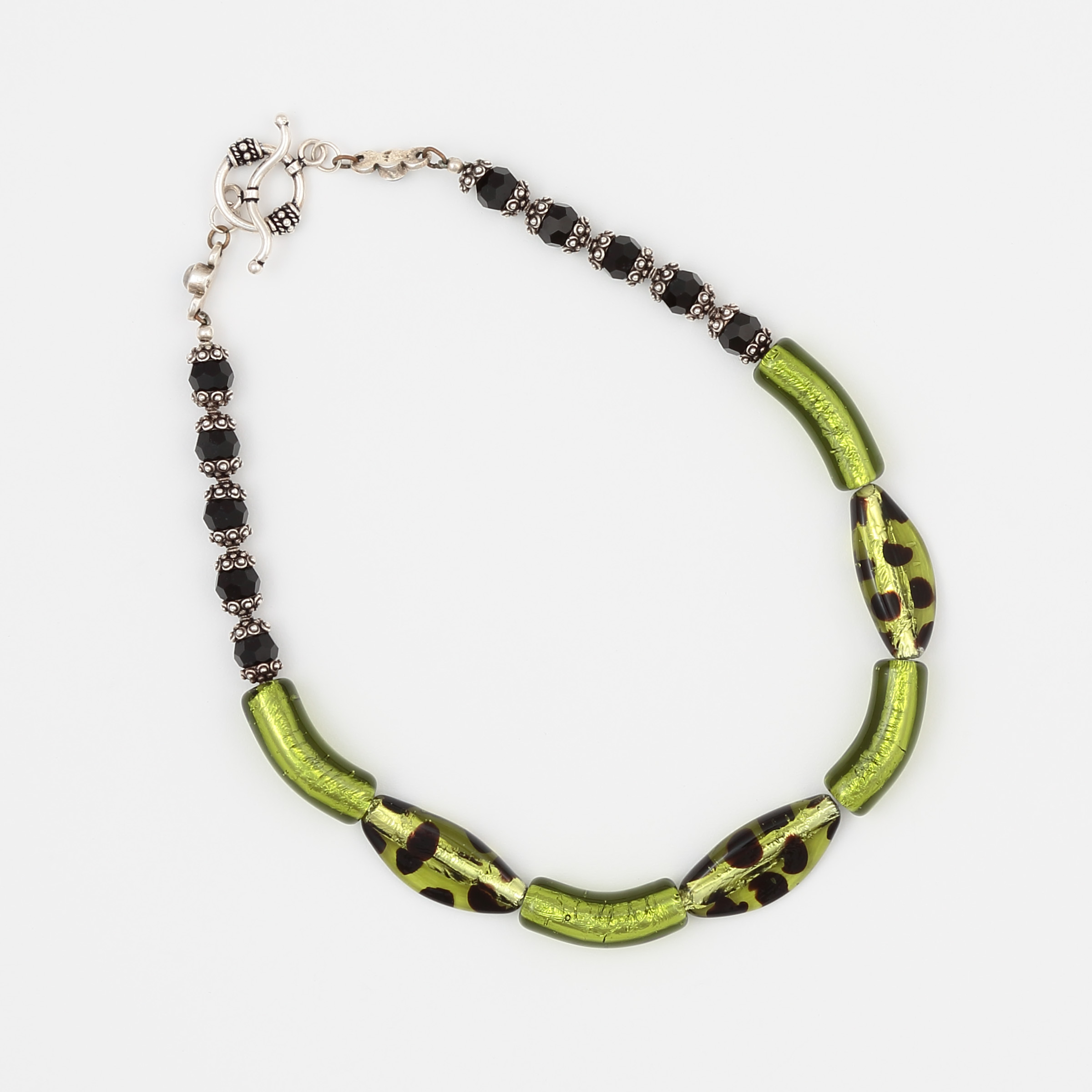 CLOVER NECKLACE- unique green and black art glass with sterling silver
