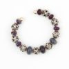 Cosmic Cuff Bracelet by Vibrant and Sage with Art Glass, Sterling Silver, and Indonesian open-work beads in deep purple and blue