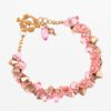 Cracklin Rose Rock Candy Bracelet by Vibrant and Sage with pink Swarovski crystals and copper beads on a gold plated chain and clasp