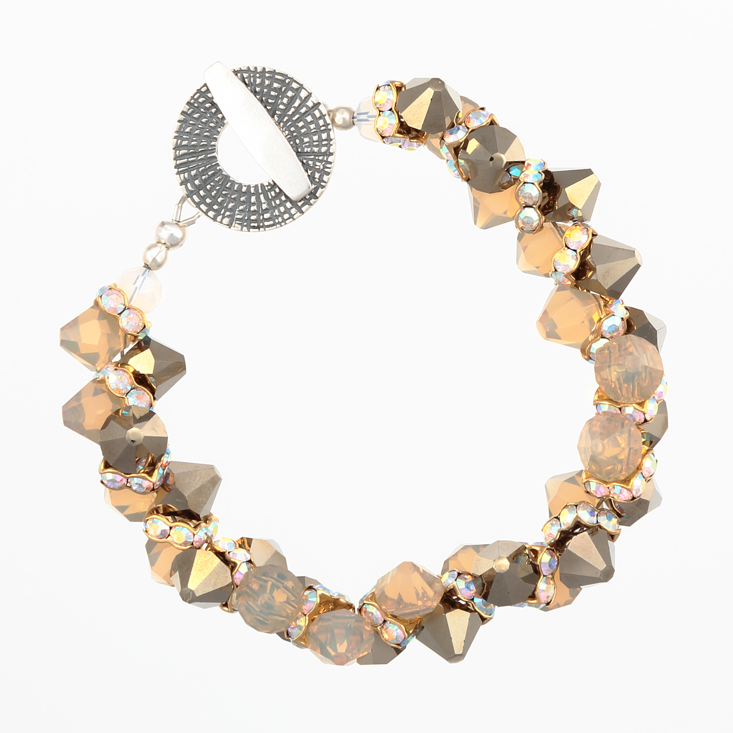 DIAMONDS IN THE SAND BRACELET- opal beige and metallic Swarovski crystals with unique large sterling silver clasp