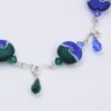 Drop in the Ocean Necklace Closeup by Vibrant and Sage, made with Blue and Green Art Glass, Swarovski Crystals and Sterling Silver