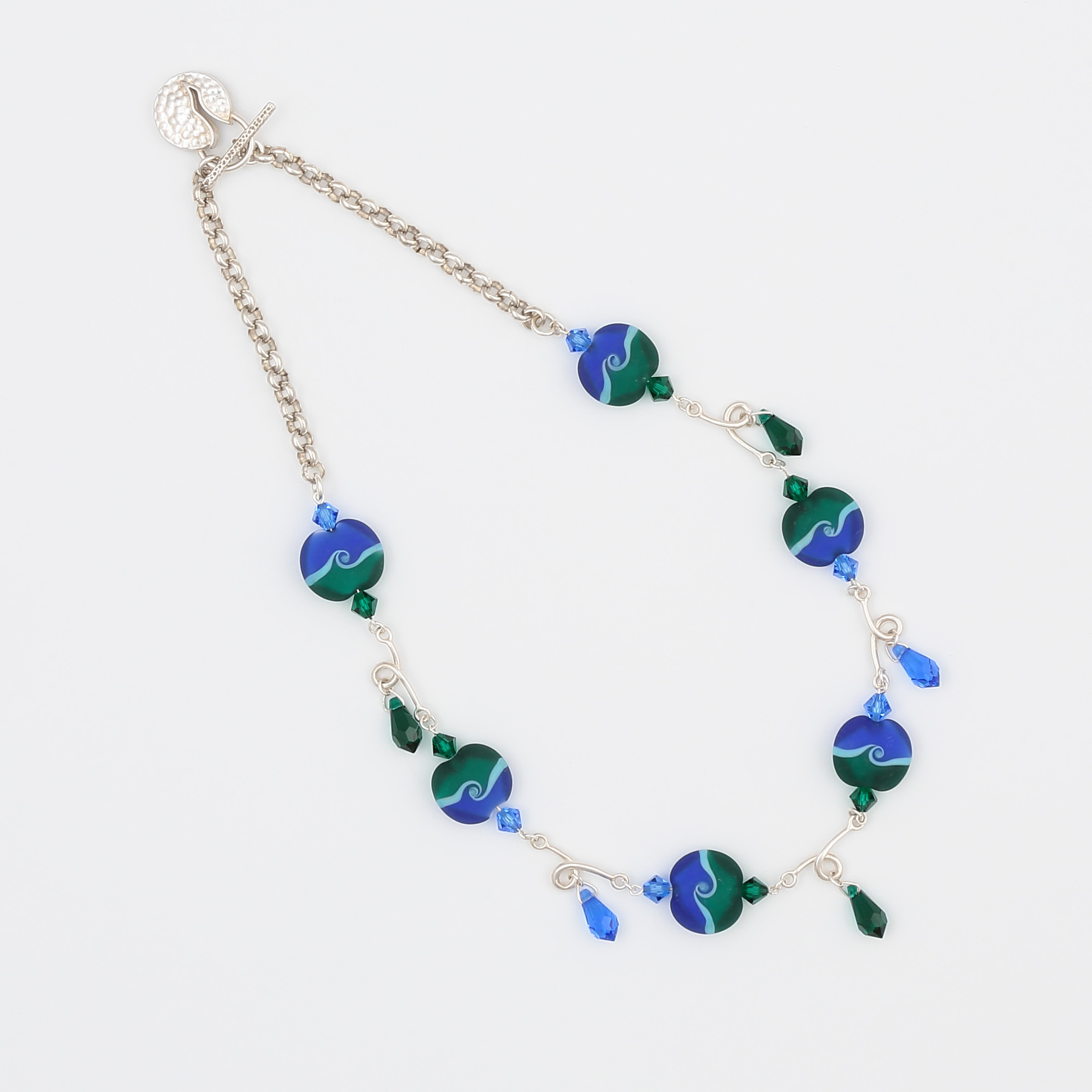 Blue, turquoise, green handmade sterling silver necklace with art glass and Swarovski crystals