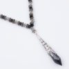 Empire Necklace Focal Closeup by Vibrant and Sage with Black Swarovski Crystals