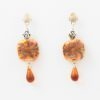 Gypsy Amber Waves Earrings Closeup by Vibrant and Sage with Amber Semiprecious Stones and Swarovski crystal in Sterling Silver