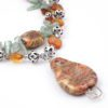Gypsy Amber Waves Necklace Focal Closeup by Vibrant and Sage with Amber Semiprecious Stones and Swarovski crystal in Sterling Silver