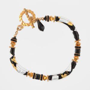 Gilded Zebra Bracelet by Vibrant and Sage with Murano glass & Swarovski Crystal