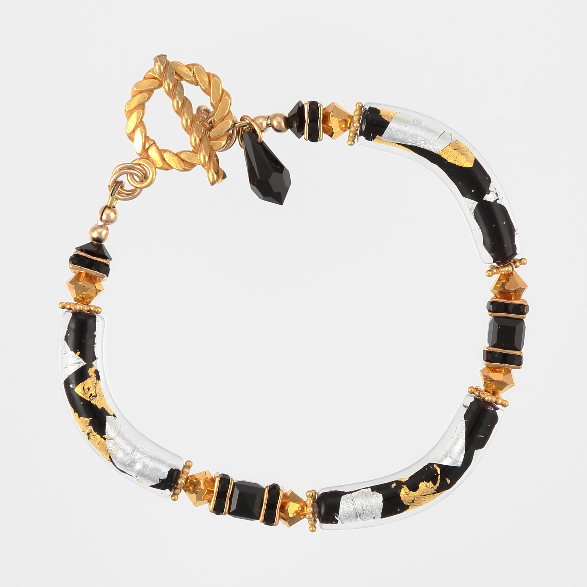 Murano gold bracelet in black, gold, silver, yellow Italian art glass and vermeil