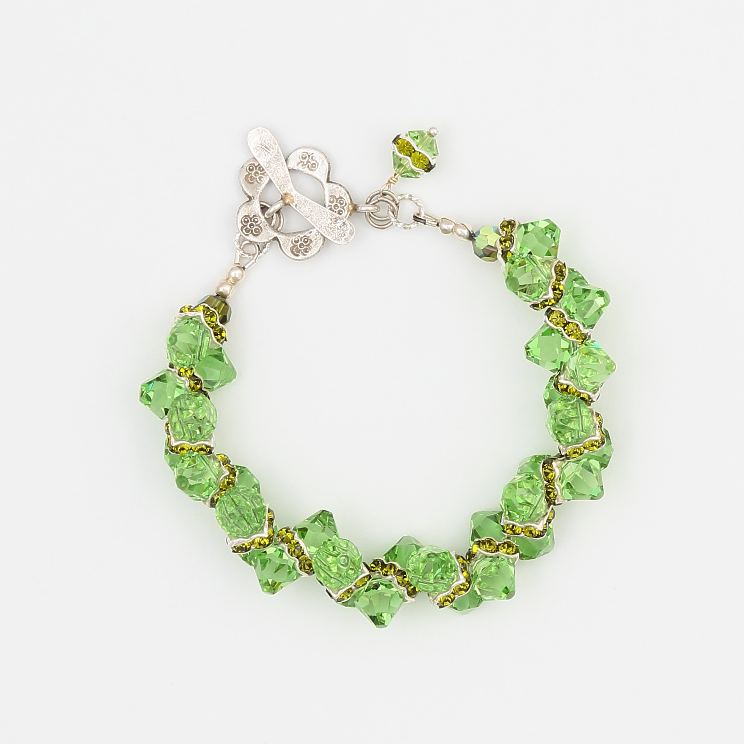 Green with Envy Bracelet- gorgeous green Swarovski crystals and sterling silver bracelet