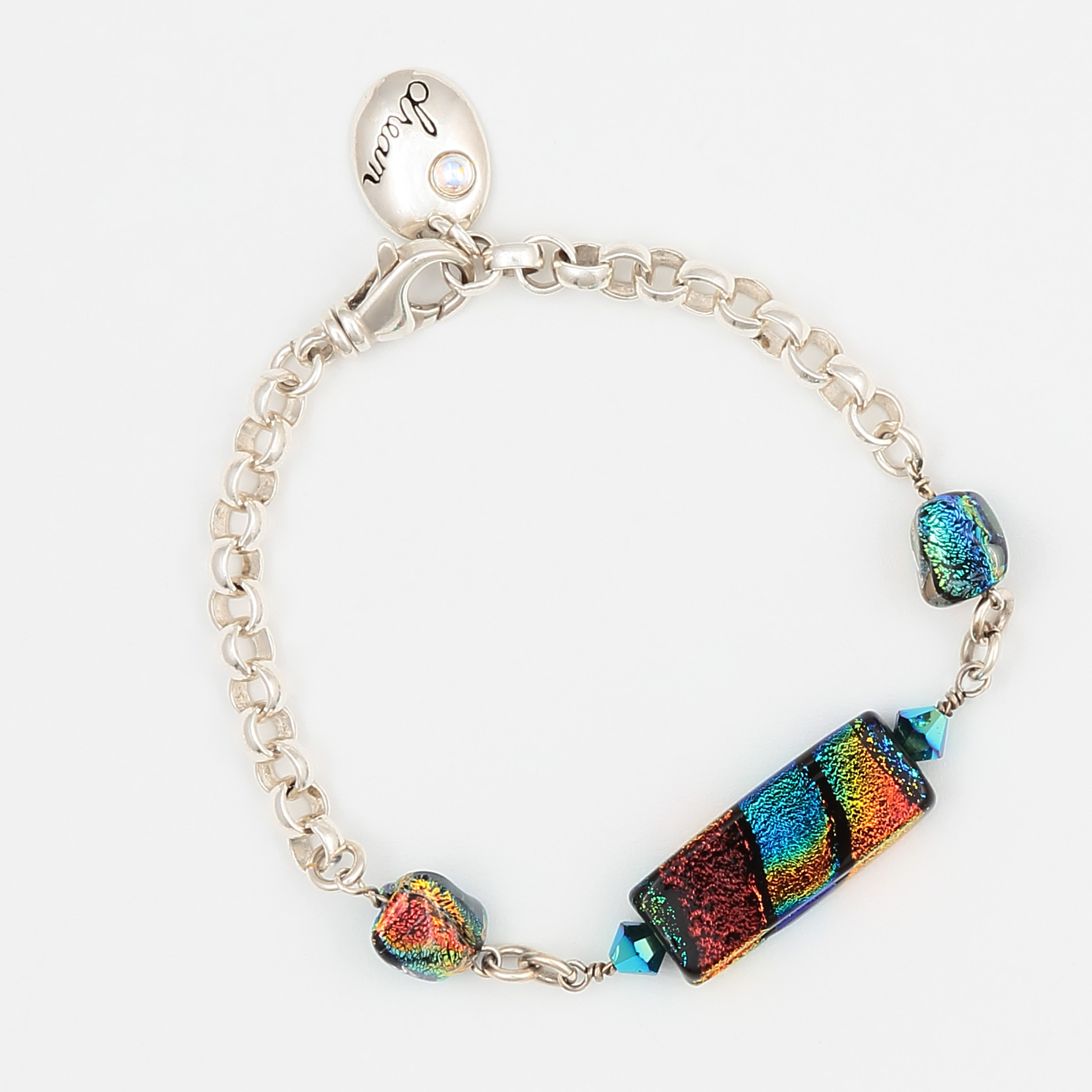 HALO BRACELET- rainbow of multicolor in iridescent art glass and sterling silver