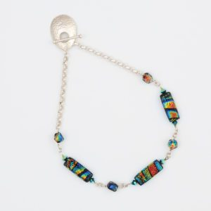 Halo Necklace by Vibrant and Sage with art glass and sterling silver