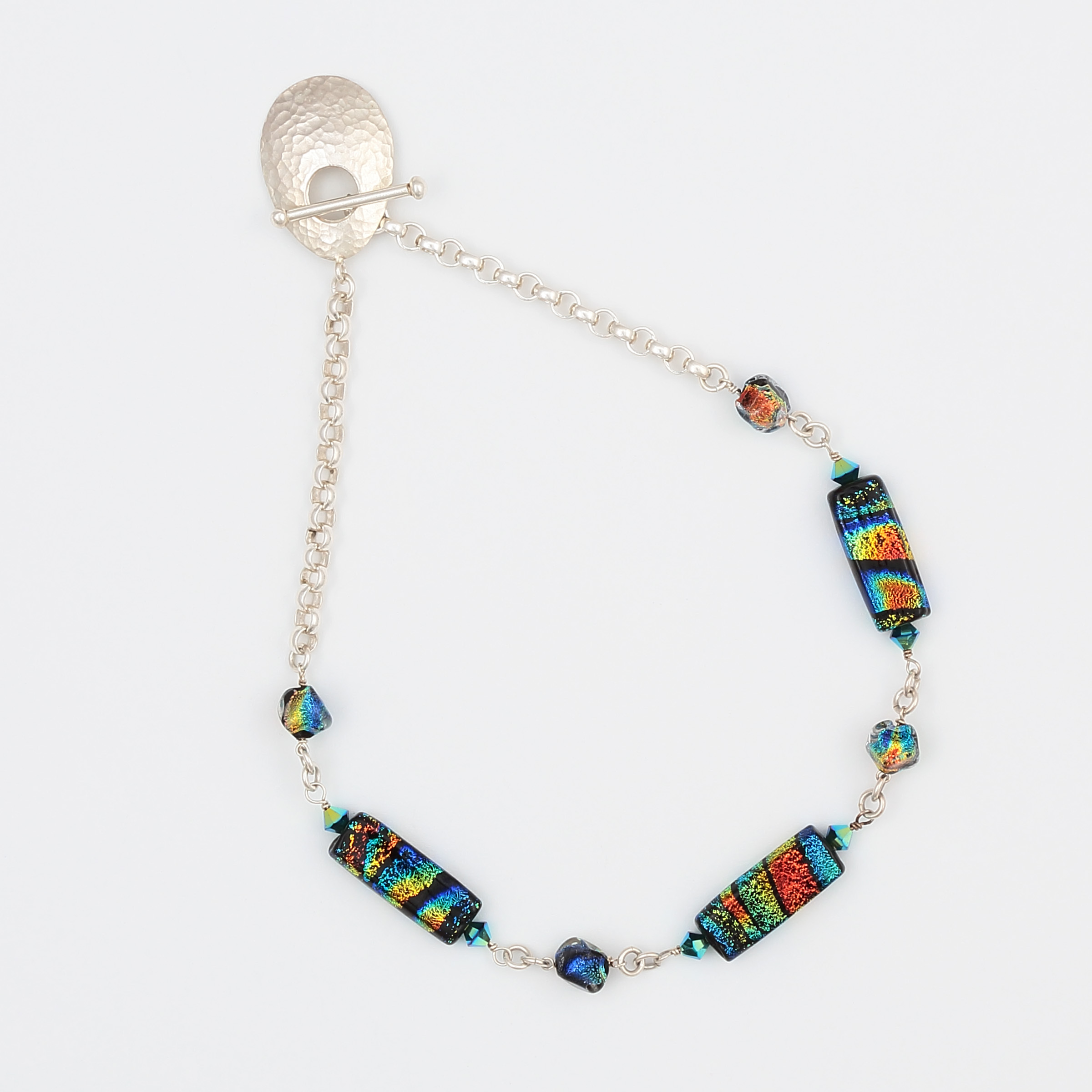 HALO NECKLACE- rainbow of multicolor in art glass with sterling silver chain and large hammered sterling clasp