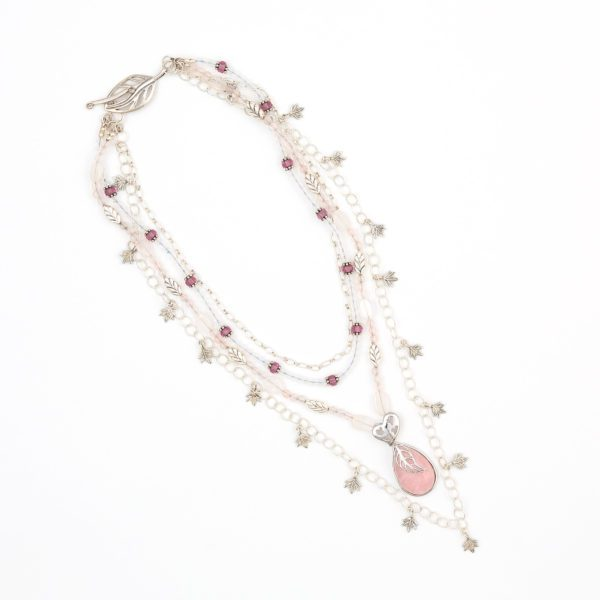Ingenuity 2-in-1 Convertible Necklace by Vibrant and Sage with rose semi precious stones and sterling silver