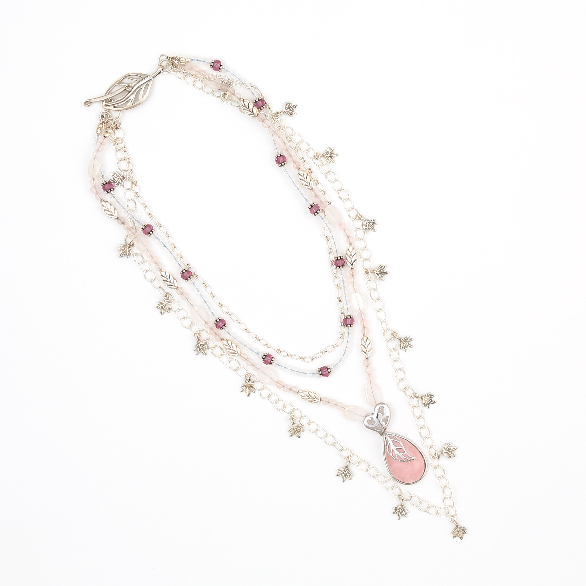 ROSE INGENUITY CONVERTIBLE NECKLACE-dusty rose vintage art glass and pink Morganite and opalescent Moonstone gemstones in a sterling silver multi strand convertible necklace