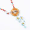 Caribbean Jazz Necklace Focal Closeup by Vibrant and Sage with Art Glass and Sterling Silver