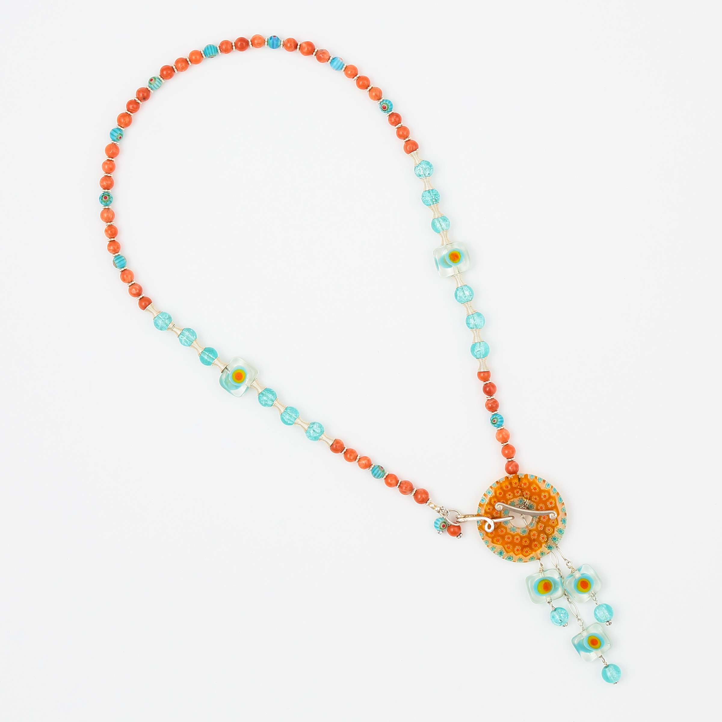 JAZZ CARIBBEAN NECKLACE- Orange, turquoise, blue, and white Italian Murano art glass with aventurine gemstone and sterling silver