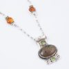 Journey Necklace Focal Closeup by Vibrant and Sage with semiprecious stones and green Swarovski crystals in Sterling Silver Setting