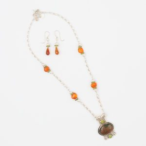 Forest Necklace and Earring Set by Vibrant and Sage with Crystal, Stone & Sterling Silver