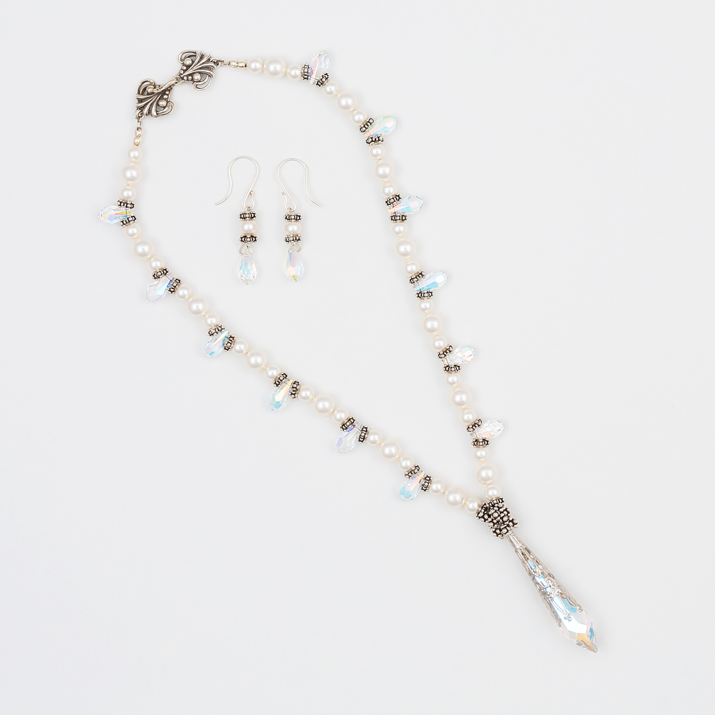 JOYFUL NECKLACE & EARRING SET- Diamond like Swarovski crystals and white pearls with beautiful filigree crystal pendant and sterling silver