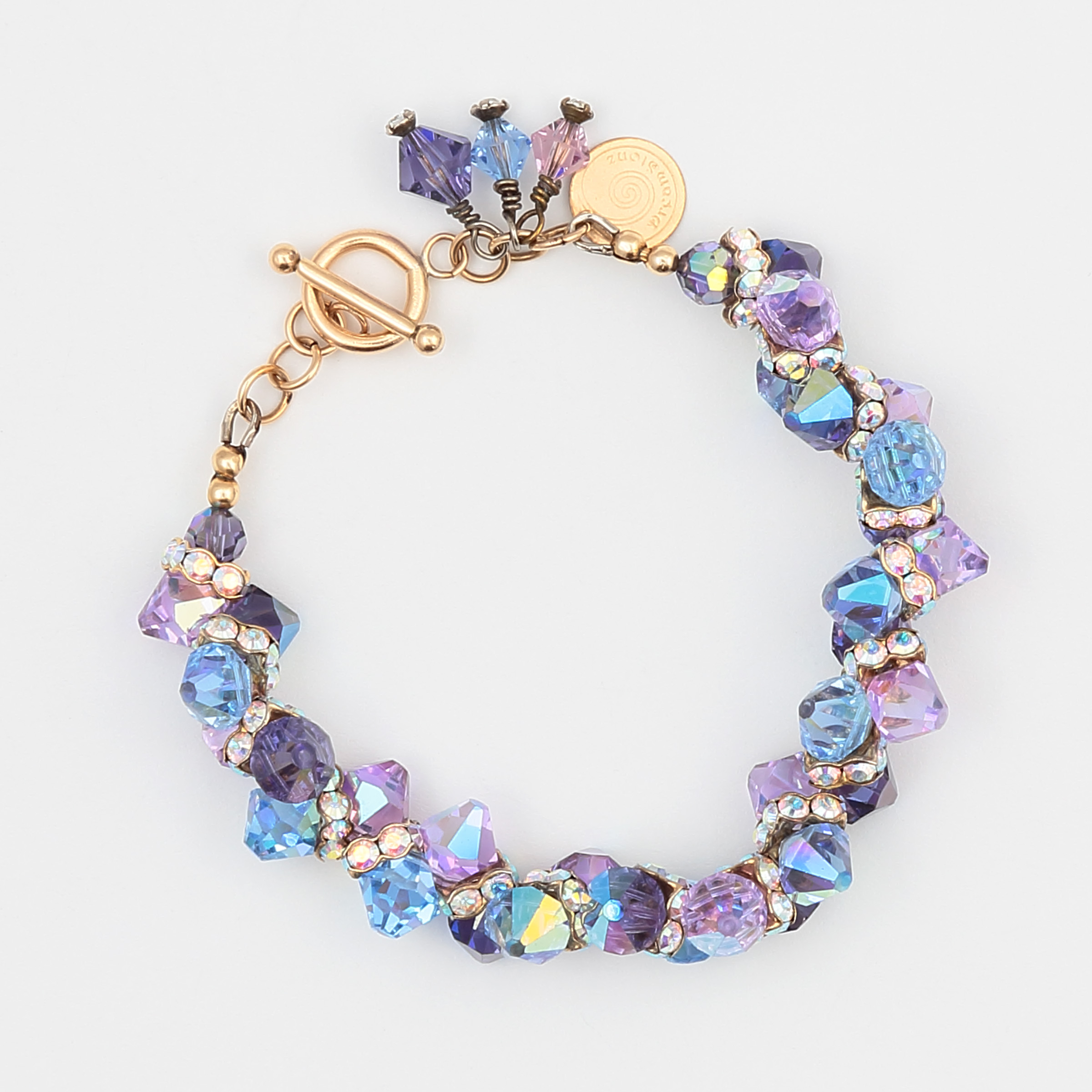 LAVENDER MIST BRACELET-purple, blue, and lavender Swarovski crystals with gold vermeil