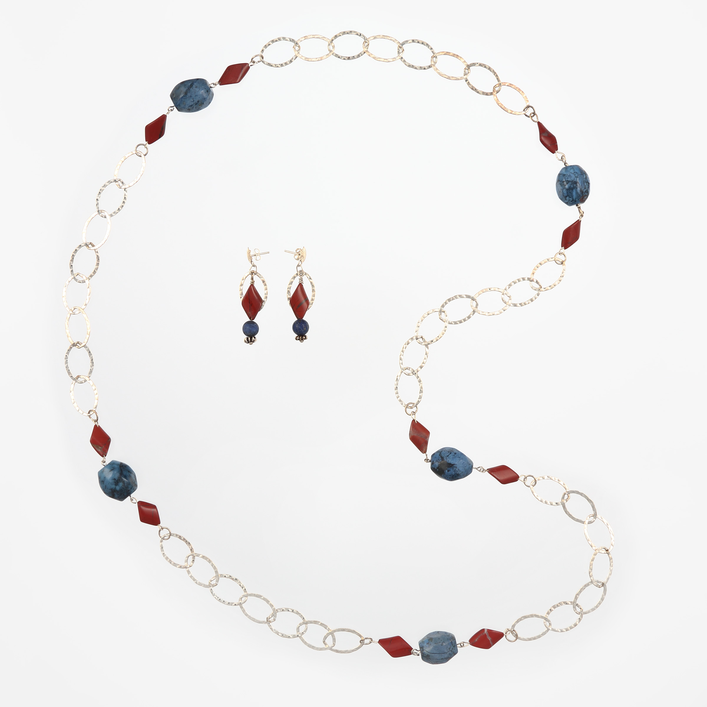 LEATHER AND BLUE JEANS SET- earrings and necklace with semiprecious sodalite and jasper gemstones and sterling silver