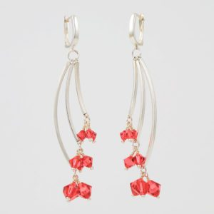 Sweep Earrings by Vibrant and Sage with Swarovski Crystals in Custom Colours; shown here are the Lotus Sweep earrings with pink-red crystals