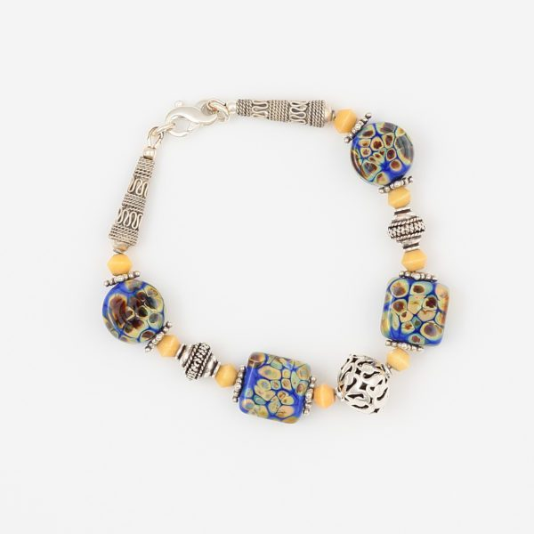 Marrakesh Bracelet by Vibrant and Sage with Art Glass, Gemstones and Sterling Silver