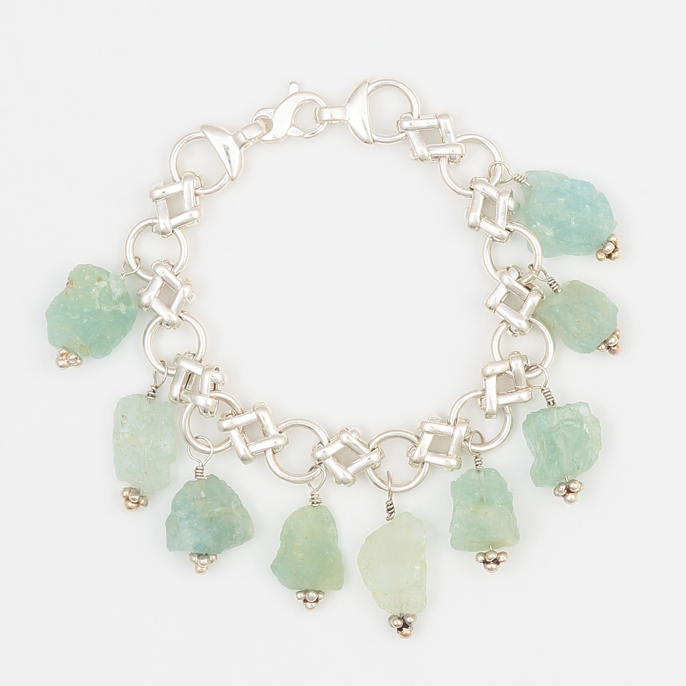 OM BRACELET- semiprecious blue green aquamarine natural gemstones on a unique sterling silver bracelet