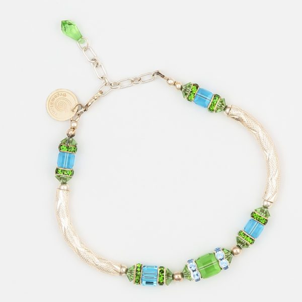 Parenthesis in Sea Colours Bracelet by Vibrant and Sage, in Sterling Silver & Swarovski Crystals