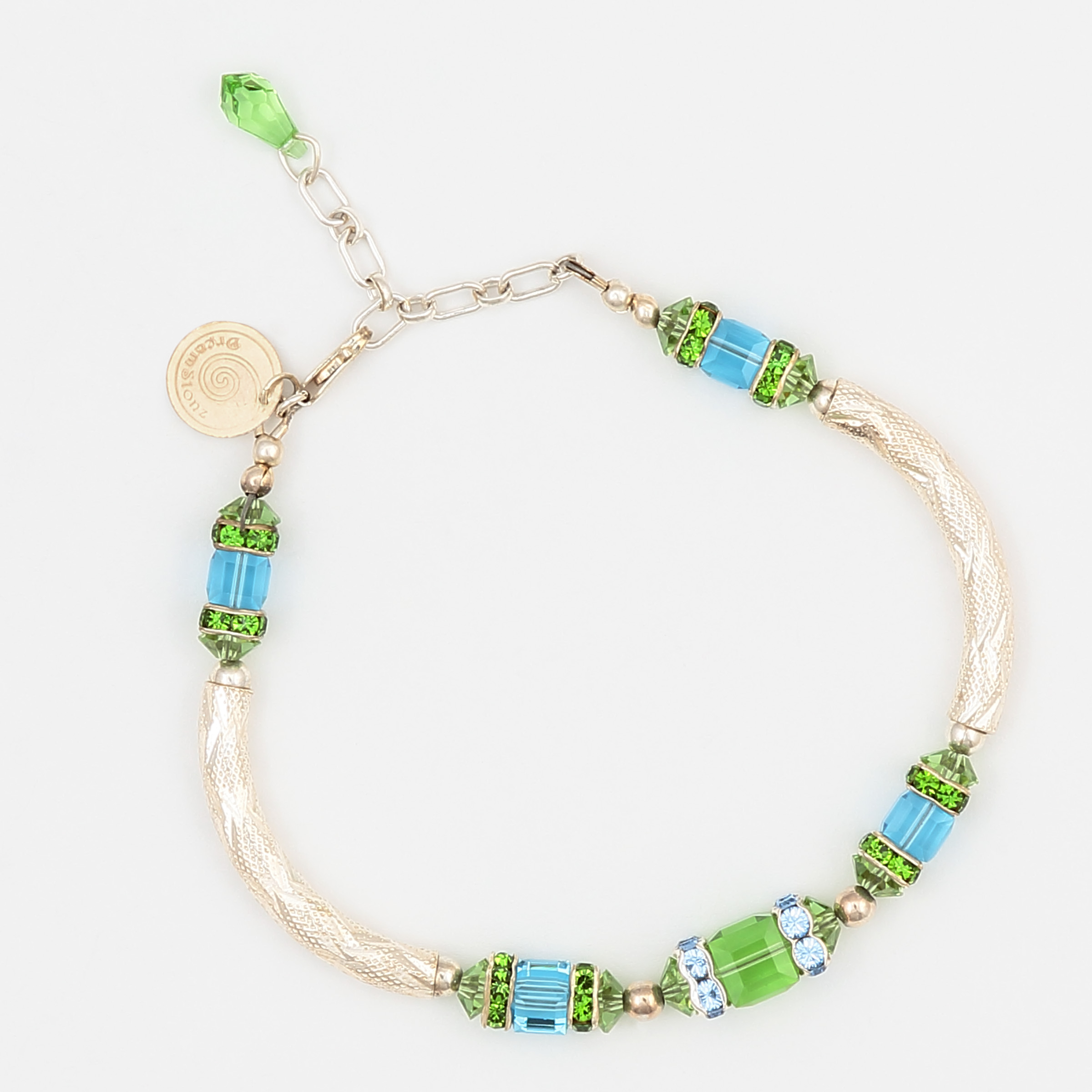PARENTHESIS IN GREEN BRACELET – sterling silver with Swarovski crystals in blue and green