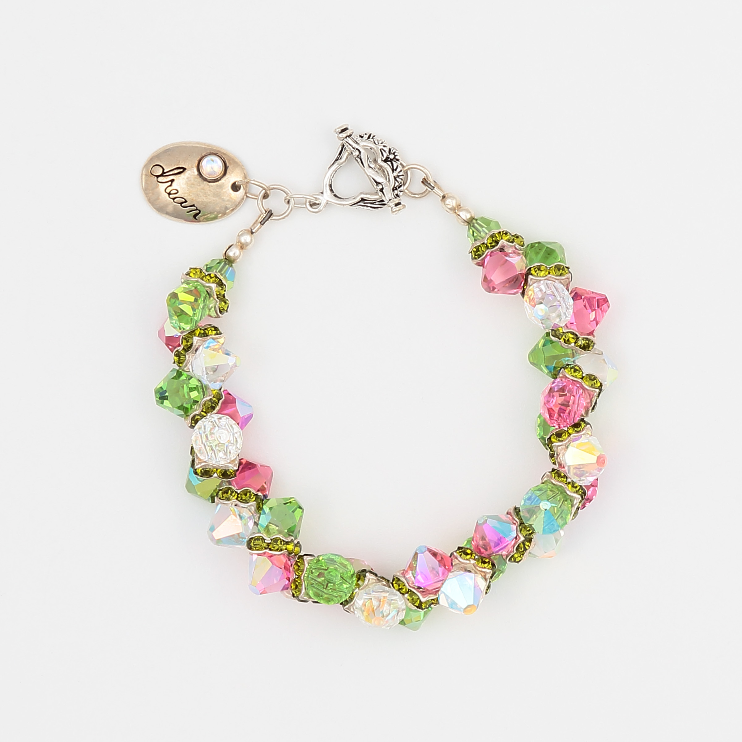 Printemps Bracelet- pink, green, and diamond like Swarovski crystals create a fresh sterling silver bracelet