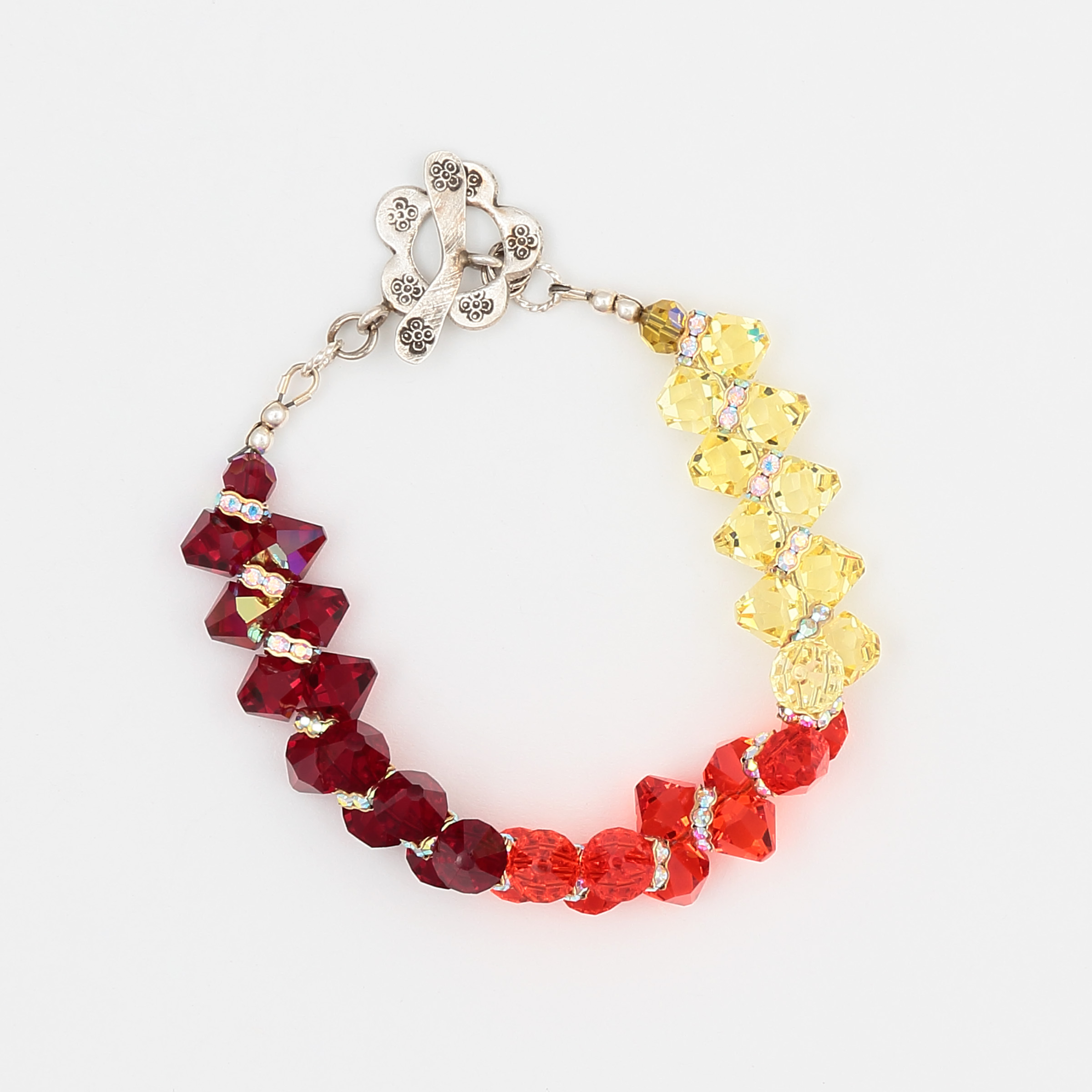 Pulse Bracelet- orange, yellow, red colors of Swarovski crystals with sterling silver clasp