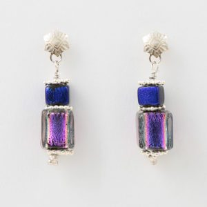 Purple Haze Earrings by Vibrant and Sage with art glass and sterling silver
