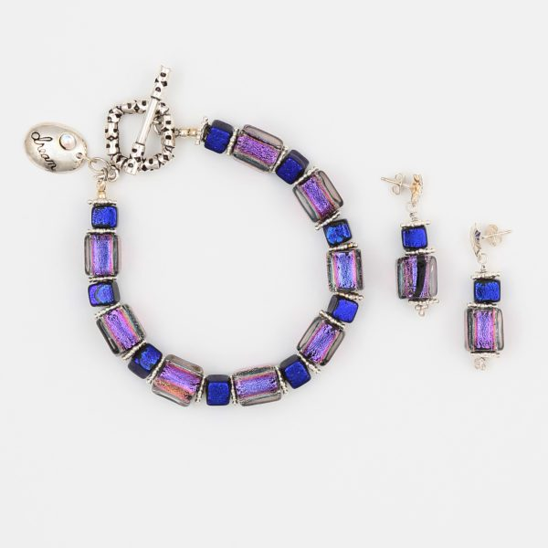 Purple Haze Bracelet by Vibrant and Sage with Art Glass & Sterling Silver
