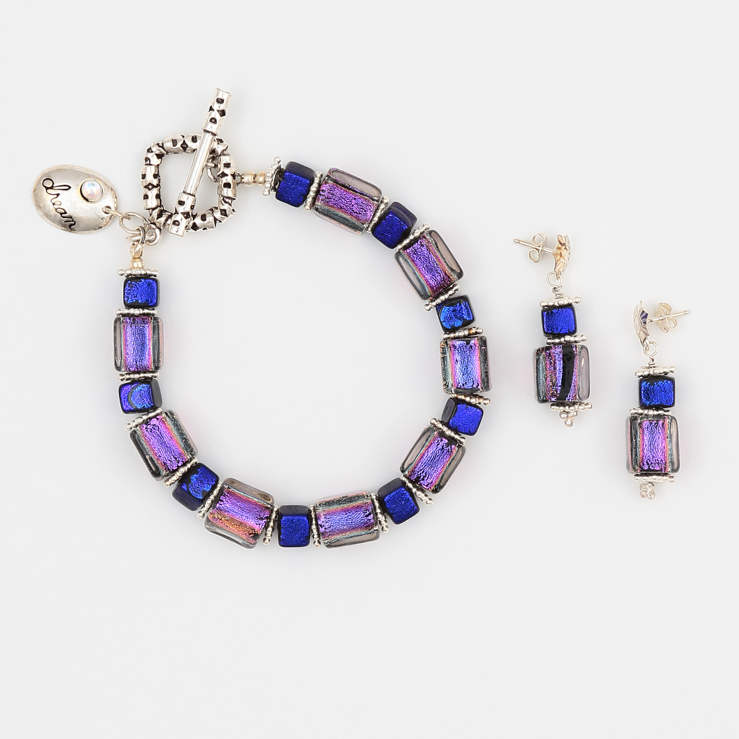 PURPLE HAZE SET- purple and blue metallic art glass bracelet and earrings with sterling silver