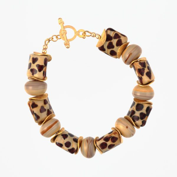 Savannah Bracelet by Vibrant and Sage, made with art glass and vermeil