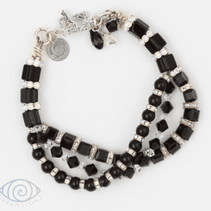 Triple Geo Bracelet by Vibrant and Sage with black and clear Swarovski crystals & sterling silver