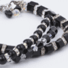 Triple Geo Bracelet closeup with black and clear Swarovski crystals & sterling silver