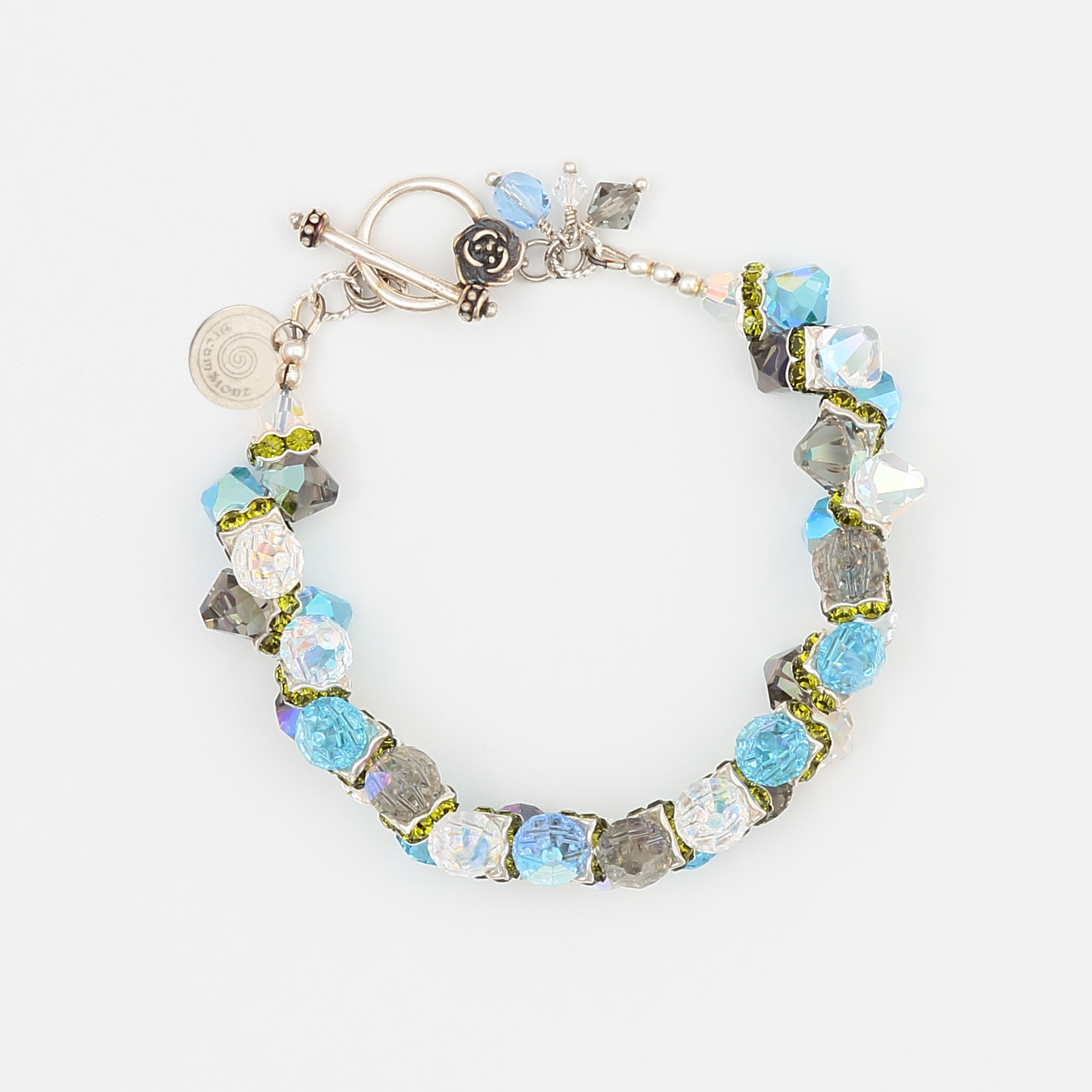 Sea Grass Bracelet- grey, clear rainbow sheen, green and blue Swarovski crystals in a sterling silver bracelet