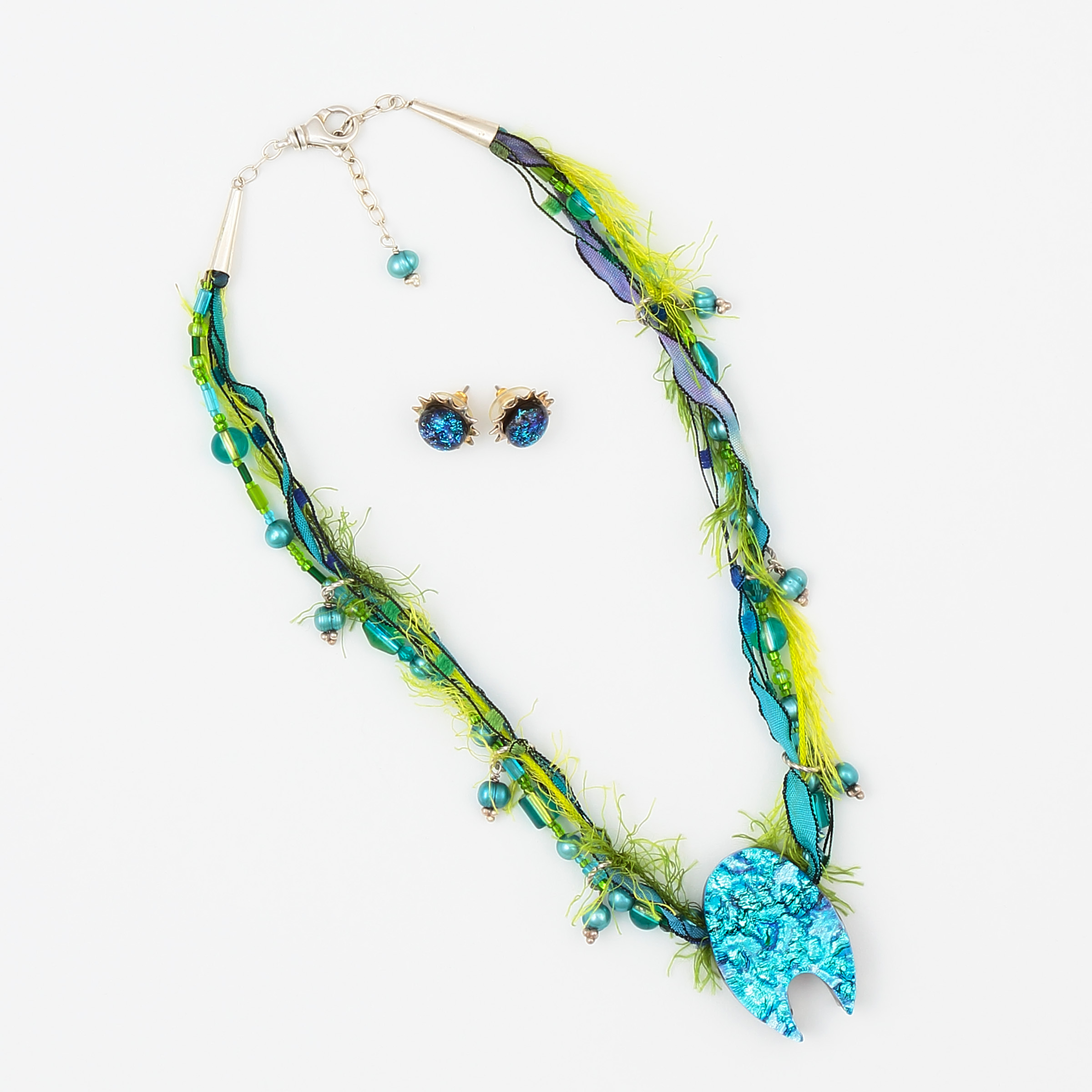 Sushi Necklace & Earring set- green, blue, turquoise, black art glass and pearls with hand dyed silk and sterling silver