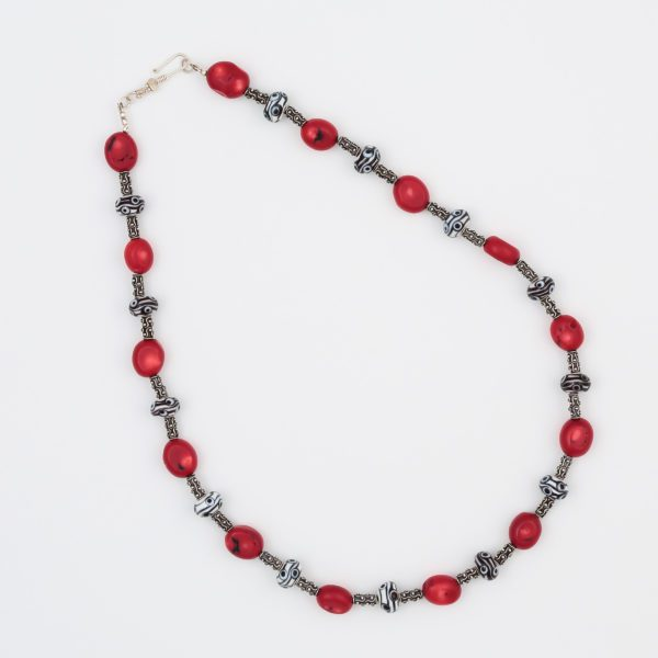 The Times Necklace by Vibrant and Sage with art glass, gemstones, and sterling silver