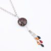 Tribal Night Necklace Focal Closeup by Vibrant and Sage with Art Glass, Swarovski crystals, and sterling silver