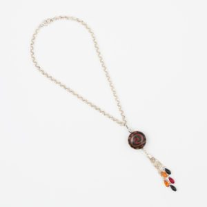 Tribal Night Necklace by Vibrant and Sage with Art Glass, Swarovski crystals, and sterling silver